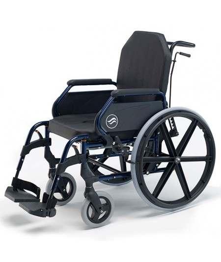Silla de ruedas en acero con inodoro SUNRISE Breezy Home ruedas traseras grandes  y respaldo recllinable